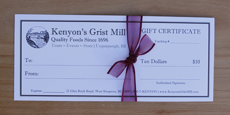 $10 Gift Certificate - Kenyon's Grist Mill