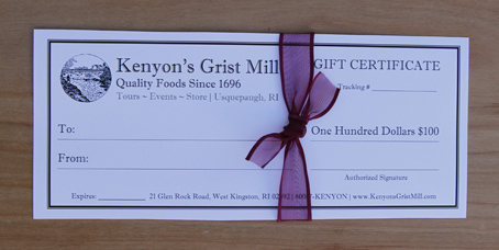 $100 Gift Certificate - Kenyon's Grist Mill