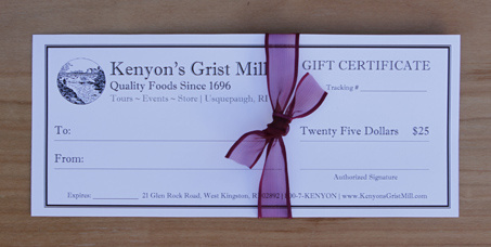 $25 Gift Certificate - Kenyon's Grist Mill