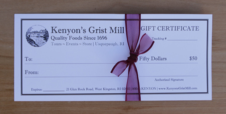 $50 Gift Certificate - Kenyon's Grist Mill